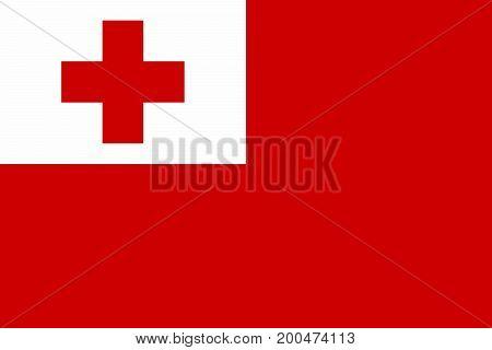 Vector illustration of National Flag of Tonga
