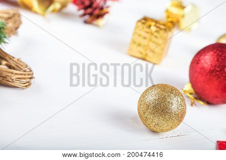 background for a Christmas card a lot of Christmas toys on a table Christmas mood decorations for Christmas trees