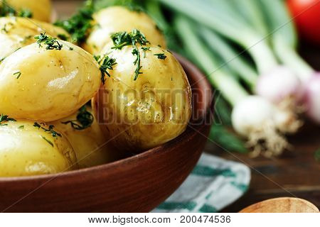 Cooked young potatoes sprinkled with chopped dill close-up