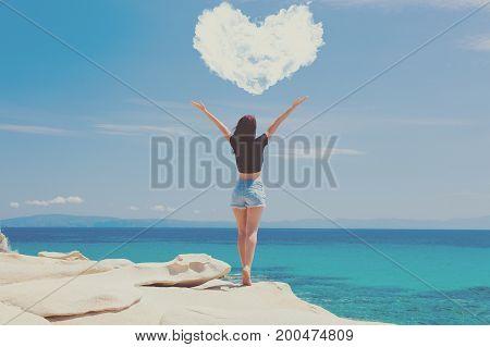 Woman Standing On The Wonderful Stone Coast