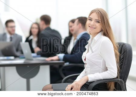 portrait of young female office worker