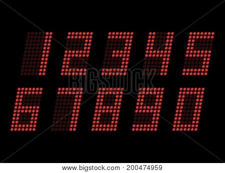 Digital table neon font with grid. Vector LED nubmers