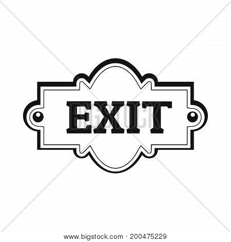 Signboard exit black simple silhouette icon vector illustration for design and web isolated on white background. Signboard vector object for labels  and advertising
