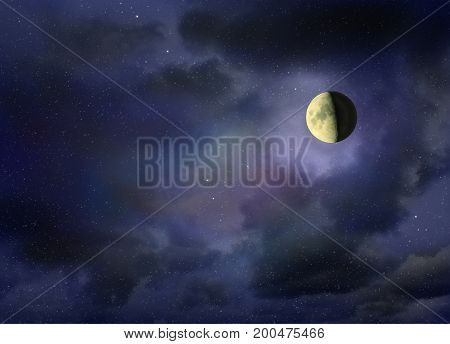 Moon glowing in the dark night sky with stars. Cosmic landscape. Moon in starlit night