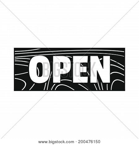 Signboard wood open black simple silhouette icon vector illustration for design and web isolated on white background. Signboard vector object for labels  and advertising