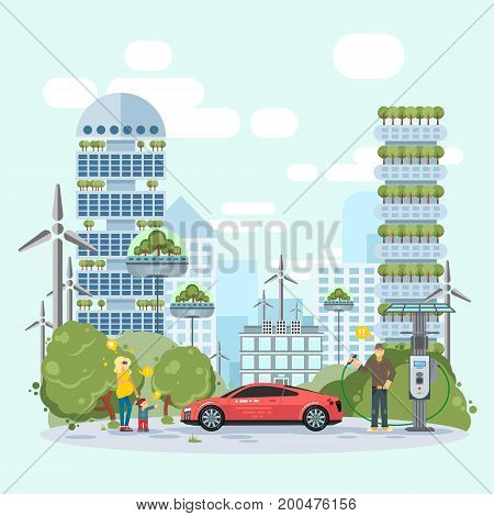 Electric car and alternative energy sources. Happy family in the background of modern buildings. Friendly eco concept to save earth idea. Vector illustration