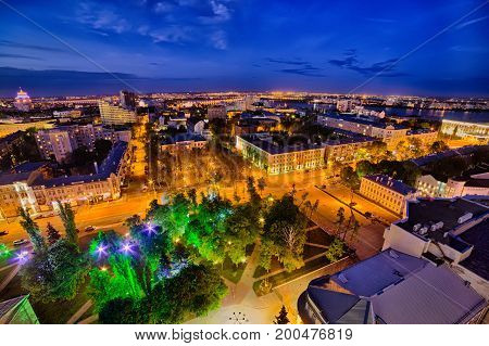 Night aerial Voronezh downtown cityscape. Historical central part