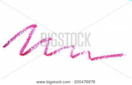 Cosmetic pencil strokes isolated on white background