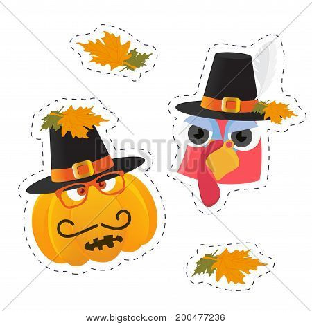 Vector stickers templates for Thanksgiving Day: turkey bird face and pumpkin character with pilgrim hat on. Thanksgiving turkey bird mascot face sticker. Autumn or fall leaves sticker.