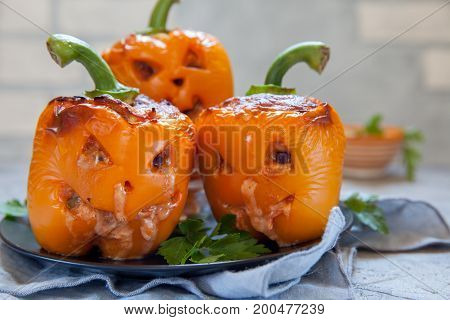 Funny jack o lanterns stuffed pepper for Halloween
