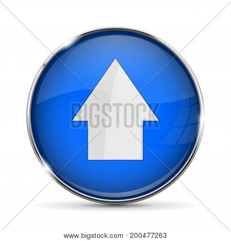 Blue UP button with white arrow. Shiny 3d icon with metal frame. Vector illustration isolated on white background