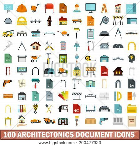 100 architectonics document icons set in flat style for any design vector illustration