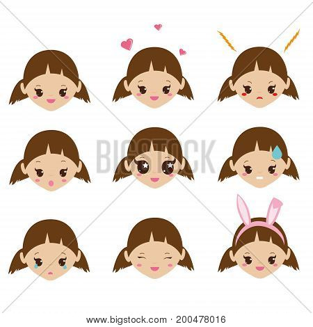 Kids emoji. Cute girl faces with emotions. Vector mood icons. Love, happiness, sad and other