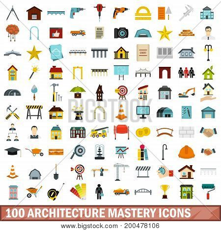 100 architecture mastery icons set in flat style for any design vector illustration