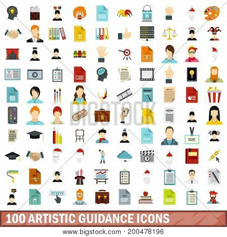 100 artistic guidance icons set in flat style for any design vector illustration
