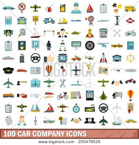 100 car company icons set in flat style for any design vector illustration