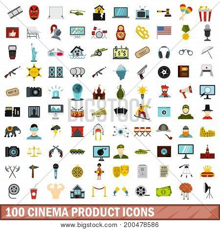 100 cinema product icons set in flat style for any design vector illustration