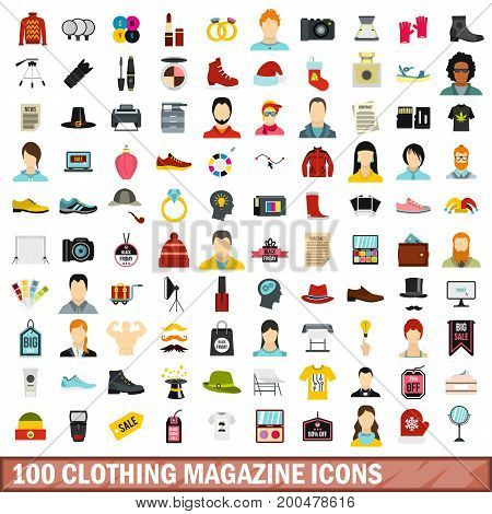 100 clothing magazine icons set in flat style for any design vector illustration