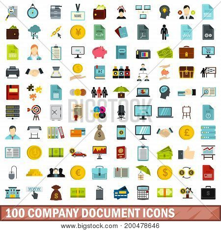 100 company document icons set in flat style for any design vector illustration