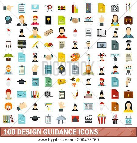100 design guidance icons set in flat style for any design vector illustration