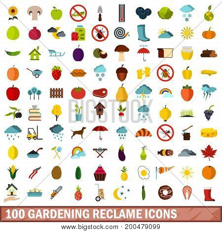 100 gardening reclame icons set in flat style for any design vector illustration