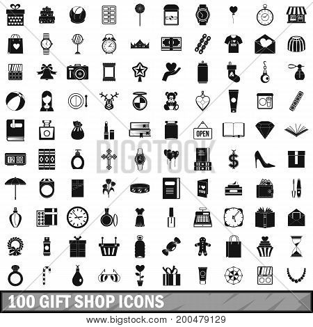100 gift shop icons set in simple style for any design vector illustration