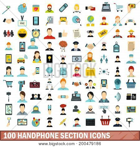 100 handphone section icons set in flat style for any design vector illustration