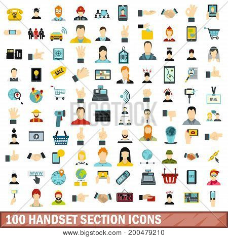 100 handset section icons set in flat style for any design vector illustration
