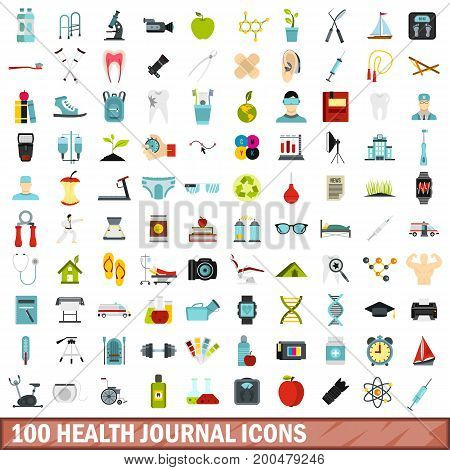 100 health journal icons set in flat style for any design vector illustration