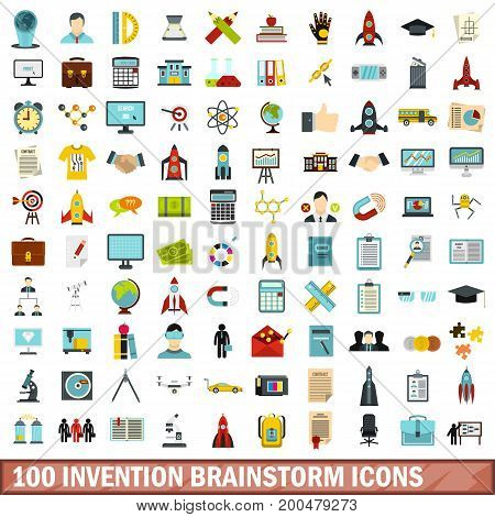 100 invention brainstorm icons set in flat style for any design vector illustration