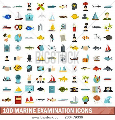 100 marine examination icons set in flat style for any design vector illustration