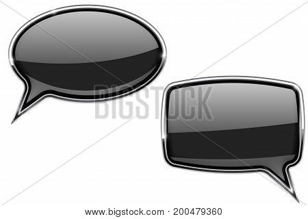Black speech bubbles. Round and square 3d icons with chrome frame. Vector illustration isolated on white background