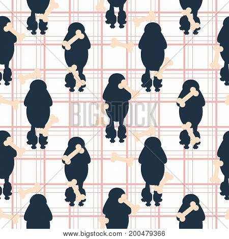 Poodle dog silhouette seamless vector checkered pattern. Blue and pink puppy curly breed with bone shapes on background for textile fabric print and wallpaper.