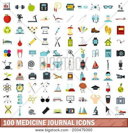 100 medicine journal icons set in flat style for any design vector illustration