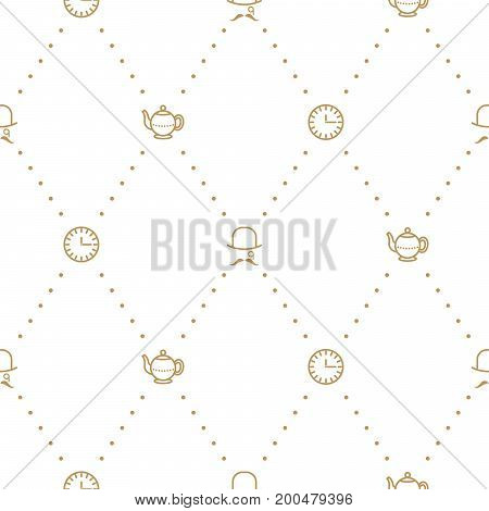 English tea party elegant gold on white line vector pattern. Dashed lines, teapot, clock and gentleman seamless background.