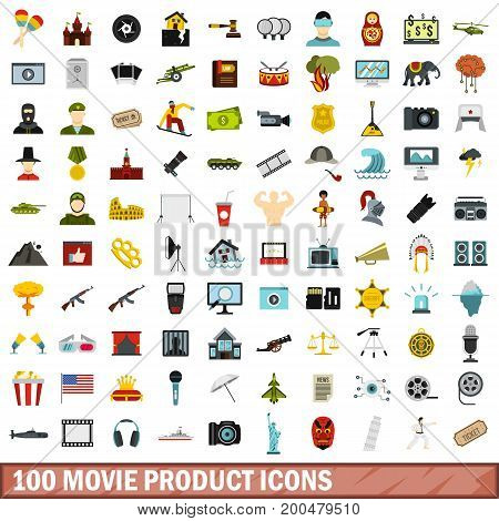 100 movie product icons set in flat style for any design vector illustration
