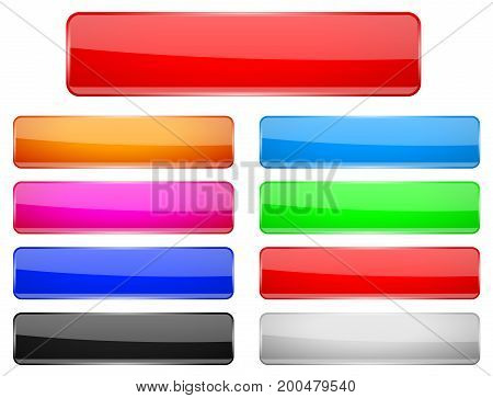Rectangle glass menu buttons Colored set. Vector 3d illustration isolated on white background