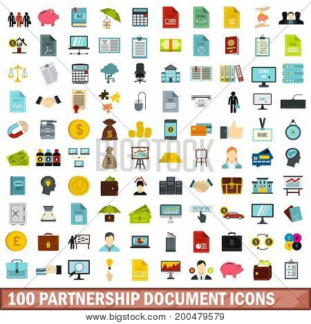 100 partnership document icons set in flat style for any design vector illustration