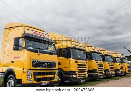Line Of Perfect Dhl Trucks At Truckfest