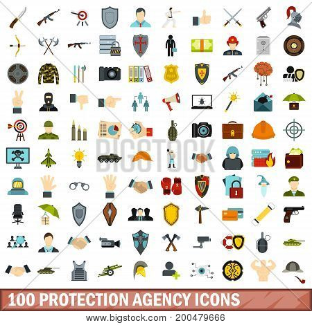 100 protection agency icons set in flat style for any design vector