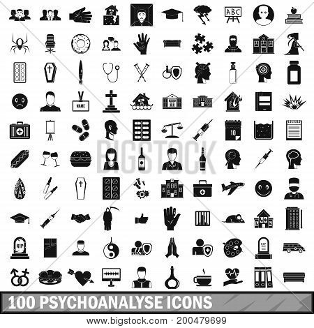 100 psychoanalyse icons set in simple style for any design vector illustration
