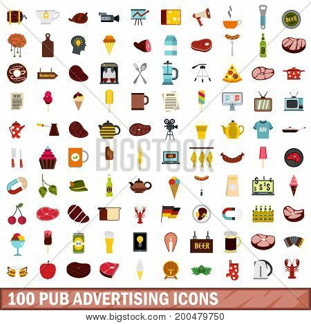 100 pub advertising icons set in flat style for any design vector illustration