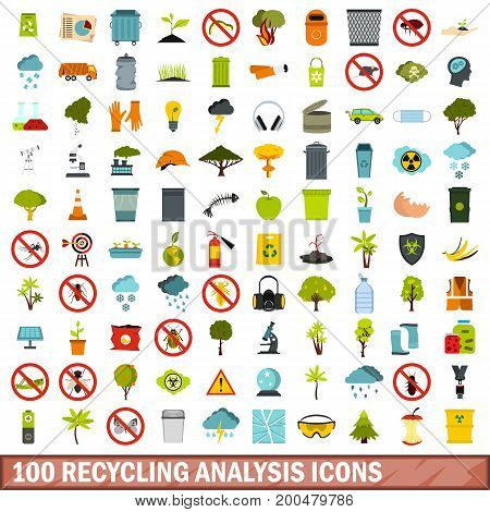 100 recycling analysis icons set in flat style for any design vector illustration