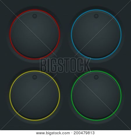 Black round knob buttons and colored backlight. Vector illustration