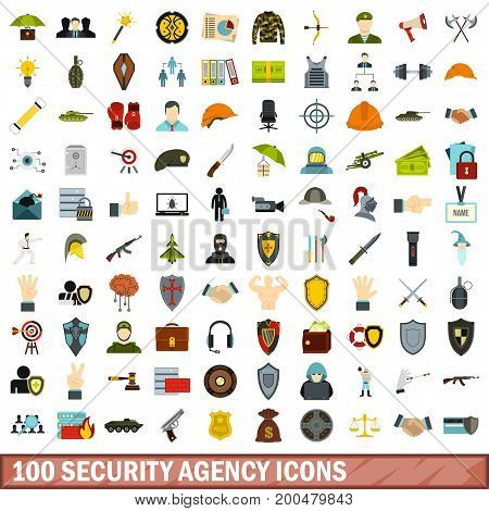 100 security agency icons set in flat style for any design vector illustration
