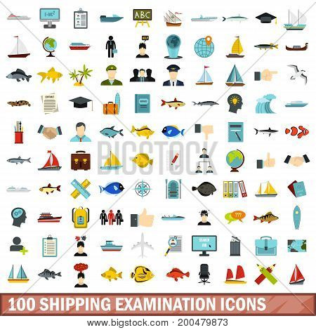 100 shipping examination icons set in flat style for any design vector illustration