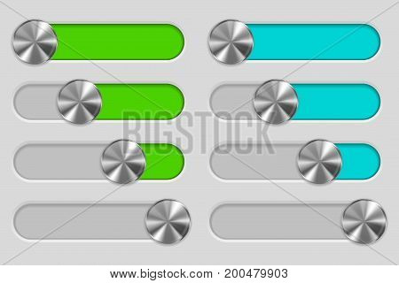 Web interface slider set. User interface control bar on gray background. Vector illustration