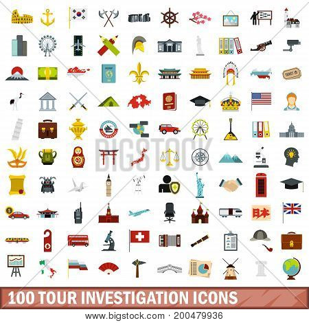 100 tour investigation icons set in flat style for any design vector illustration