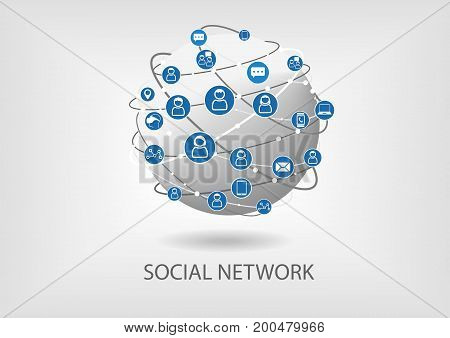 Social network vector icon background with icons