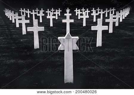 Monochrome image with marble tombstones in form of crosses and stars displayed in a perfect symmetry in the American memorial cemetery Luxembourg.